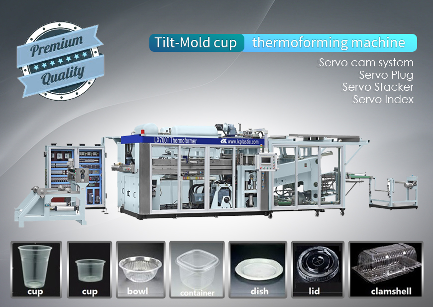 Full Servo LX7240-T-S Tilt-mold Thermoforming machine for cups ,container and tray-copy