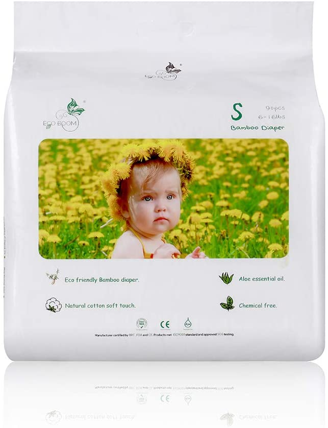 ECO BOOM Bamboo Biodegradable Disposable Diapers Infant Eco Friendly Nappies Natural Soft Hypoallergenic Diapers for Baby S