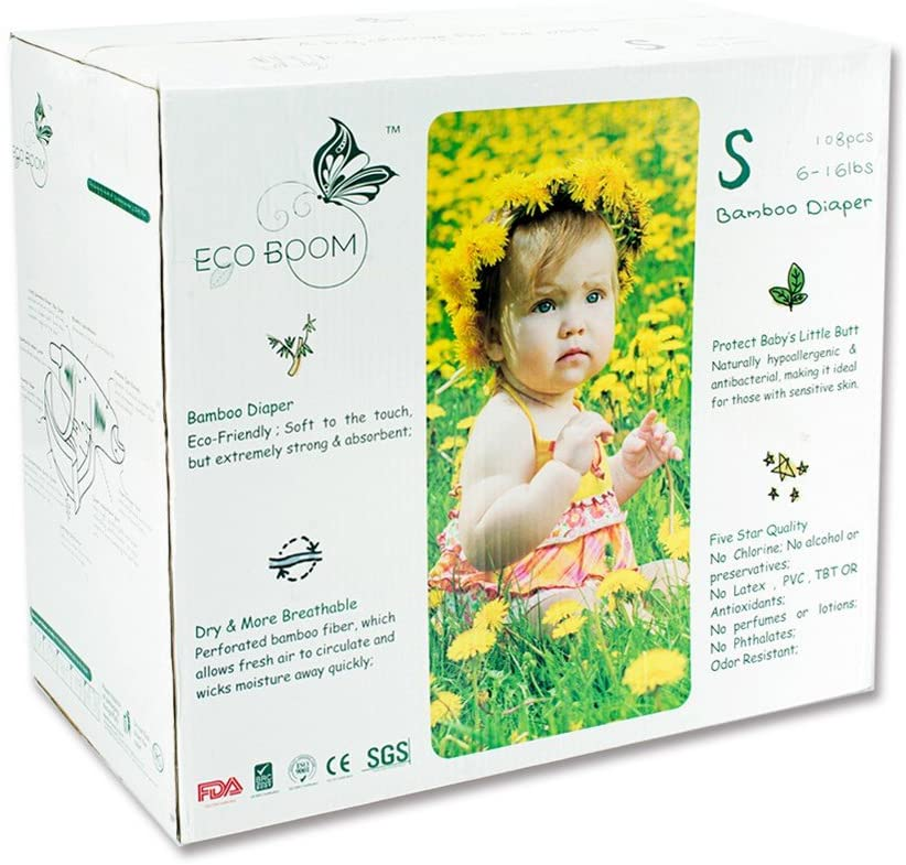 ECO BOOM Bamboo Nappies Size 2 Biodegradable Bamboo Fiber Diapers Eco Nappies Soft and Durable for Baby