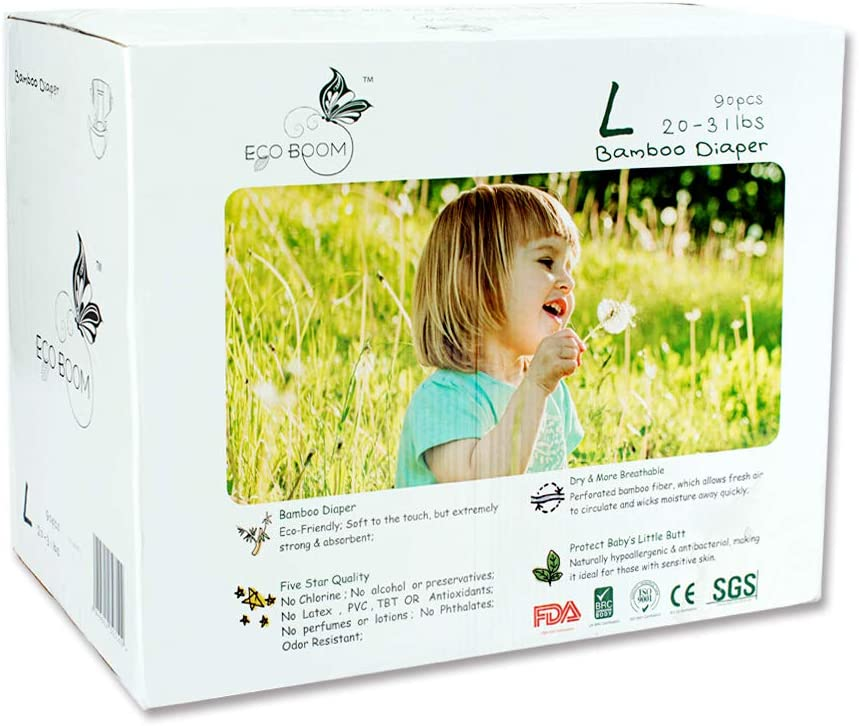 ECO BOOM Bamboo Biodegradable Diapers Infant Nature Disposable for Babies Size 4 - Large 90 Count-Pack