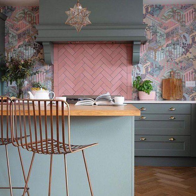 Pink Herringbone Kitchen